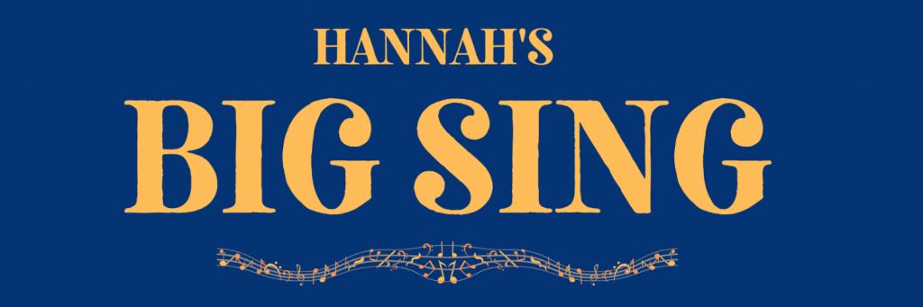 Hannah's Big Sing - Logo (gold text, blue background)